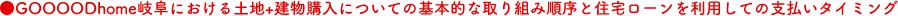 ●GOOOODhome岐阜における土地+建物購入についての基本的な取り組み順序と住宅ローンを利用しての支払いタイミング